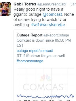 A customer complaint tweeted Sunday after cable TV service was interrupted for customers in the Washington, D.C., area.