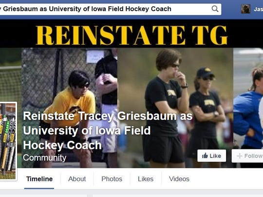 Screenshot of a Facebook Page to Reinstate Tracey Griesbaum as University of Iowa Field Hockey Coach