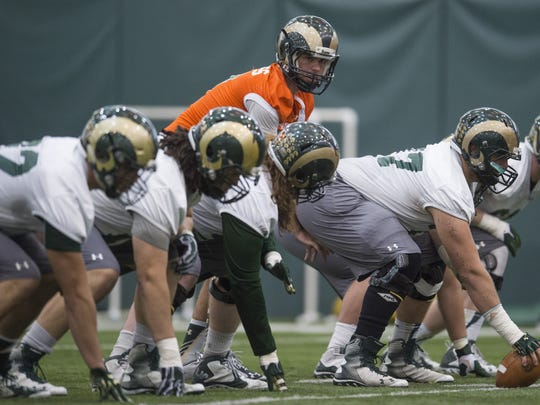 Colorado State University quarterback Nick Stevens lines up for a drill during the first spring practice of the year March 25 in Fort Collins.