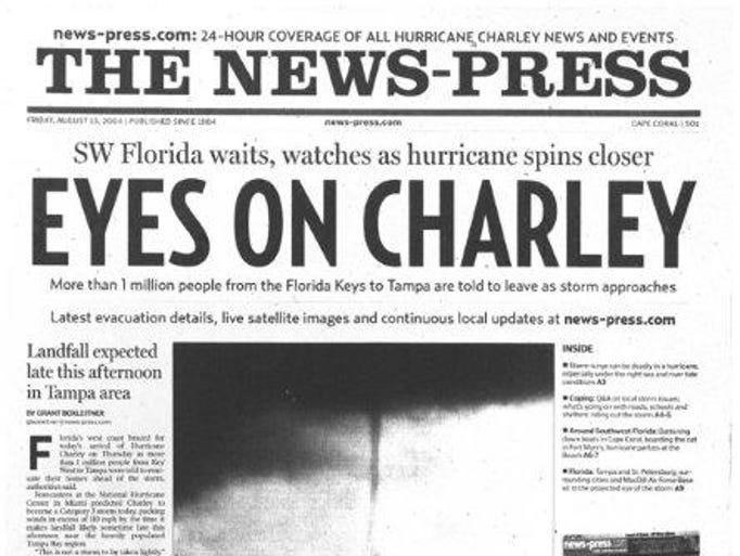 Front pages on the days before and after Hurricane Charley: August 13, 2004
