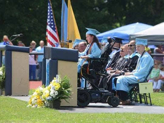 Valedictorian Anna Landre addresses the crowd at Freehold Township High School's graduation in 2017.