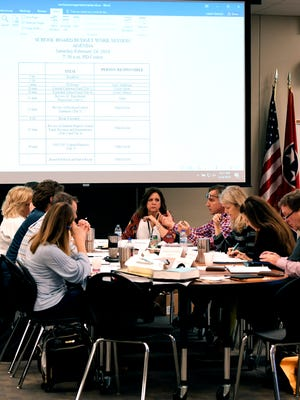 Williamson County School Board members and Director of Schools Mike Looney review the 2018-19 budget on Feb. 24, 2018.
