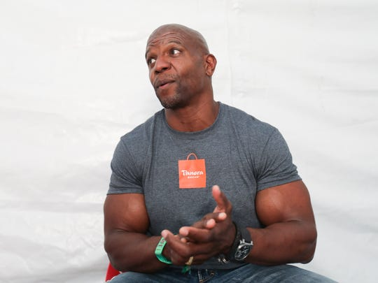 Actor Terry Crews speaks to the media at Firefly Music Festival Saturday.