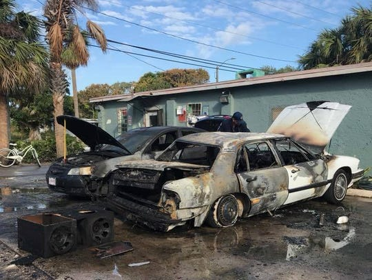 Firefighters went to a Fort Pierce car fire just after