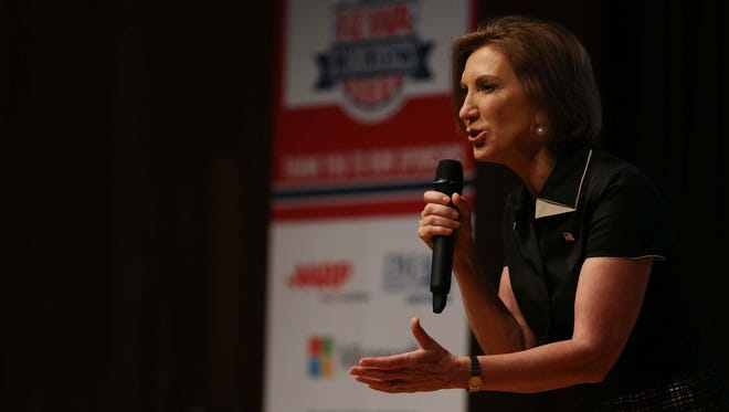 Presidential hopeful Carly Fiorina speaks at the 2016 Iowa Caucus Consortium Candidate Forum on Monday morning, Aug. 17, 2015, at the State Historical Building in Des Moines.