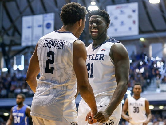Butler Bulldogs guard Aaron Thompson (2) and Butler Bulldogs guard Jerald Gillens-Butler (21) celebrate their lead during first half action between the Butler Bulldogs and the Saint Louis Billikens at Hinkle Fieldhouse, Indianapolis, Saturday, Dec. 2, 2017. Butler lead at the half, 42-13.