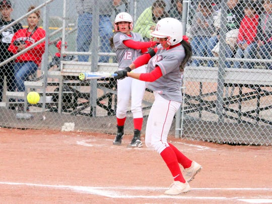 Cobre's Eliza Ortiz was 2-for-3, including this single during Friday's action against Silver. She was also picked off at first base.