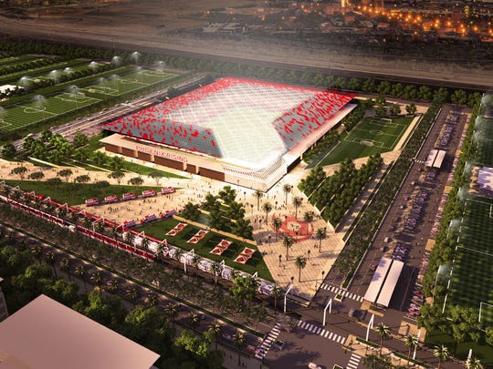 Rendering of proposed soccer-specific stadium in Phoenix.