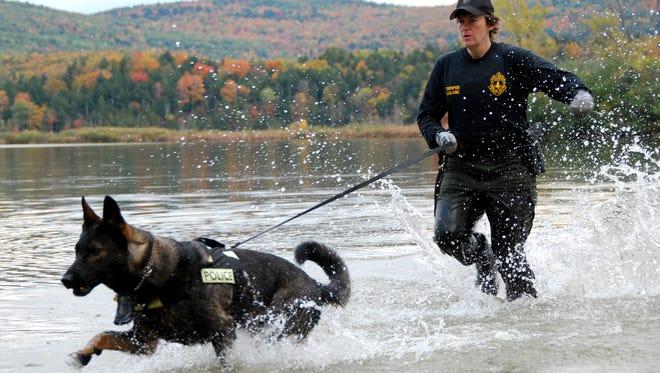 Vermont State Police Cpl. Michelle LeBlanc and K-9 Casko.