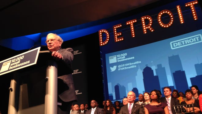 Warren Buffet speaks during the Goldman Sachs 10,000 small business program graduation at Wayne State in Detroit.