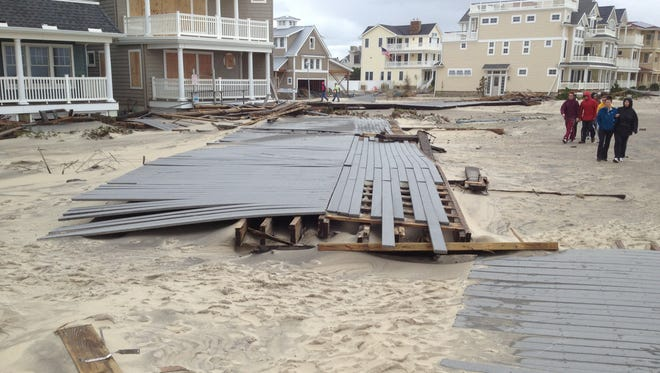 Damage on Belmar boardwalk immediately after superstorm Sandy.