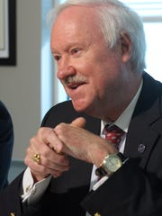 Republican incumbent John C. Bartlett Jr. speaks during the Ocean County Board of Freeholders editorial board meeting at the Asbury Park Press.