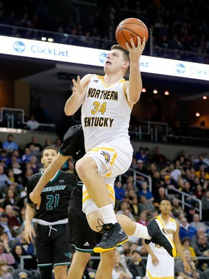 Northern Kentucky Norse forward Drew McDonald (34) rises for a layup in the second half of the NCAA Horizon League basketball game between the Northern Kentucky Norse and the Green Bay Phoenix at BB&T Arena in Highland Heights, Ky., on Saturday, Feb. 10, 2018. The Norse took an 86-80 win over Green Bay.