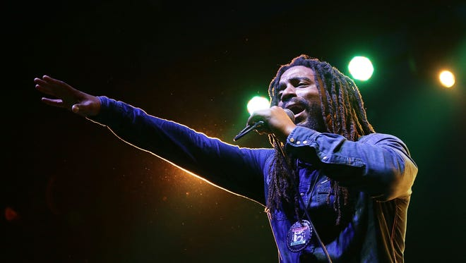 "Dwayne ""Danglin"" Anglin of The Wailers performs live for fans at the 2016 Byron Bay Bluesfest on March 27, 2016 in Byron Bay, Australia."