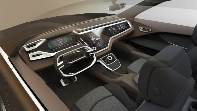 Faurecia's vision for the Cockpit of the Future includes re-imagining the Human Machine Interface of traditional controls by integrating smart surfaces into the vehicle's interior in ways that are natural and enhance interior design. Electronic solutions to operate functions such as lighting or ventilation can be integrated into different surfaces and materials, such as plastic, leather, aluminum and real wood--all with haptic feedback that the user can feel.