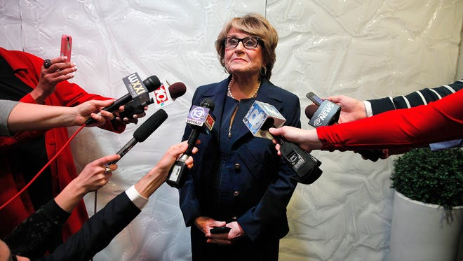 Rep Louise Slaughter talks to the press after a close race for her seat with Gates Supervisor Mark Assini.
