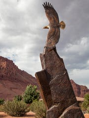 The Freedom Eagle Monument, by local artist Edward Hlavka, is placed and dedicated at The Southern Utah Veterans Home Friday, May 29, 2015.