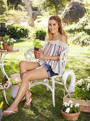 LC Lauren Conrad crochet cold-shoulder top, $33, and cuffed jean shorts, $17.60 to $32.99, at kohls.com.