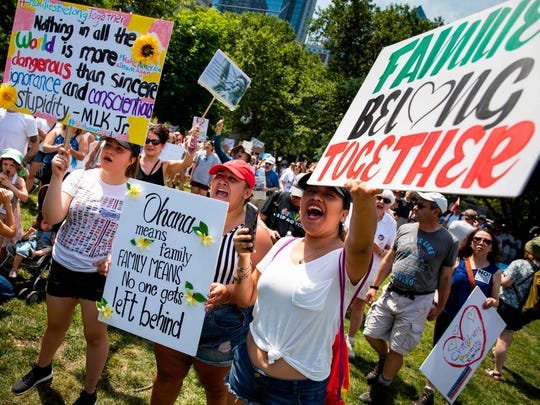 Protesters rally against President Trump's immigrant family separation policies in Philadelphia, Penn., June 30, 2018.