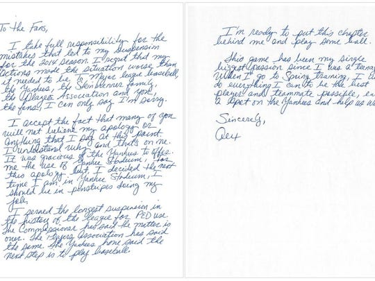 """This image issued by New York Yankees' Alex Rodriguez shows a two-page handwritten apology issued Tuesday, Feb. 17, 2015, three days before the team opens spring training, addressed """"to the fans."""" The apology failed to detail any specifics about his use of performance-enhancing drugs. The 39-year-old, three-time AL MVP, was suspended last season for violations of baseball's drug agreement and labor contract.  (AP Photo)"""