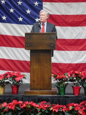 Former ambassador to the UN John Bolton speaks at former Congressman Charles Taylor's annual holiday dinner Saturday in Asheville.