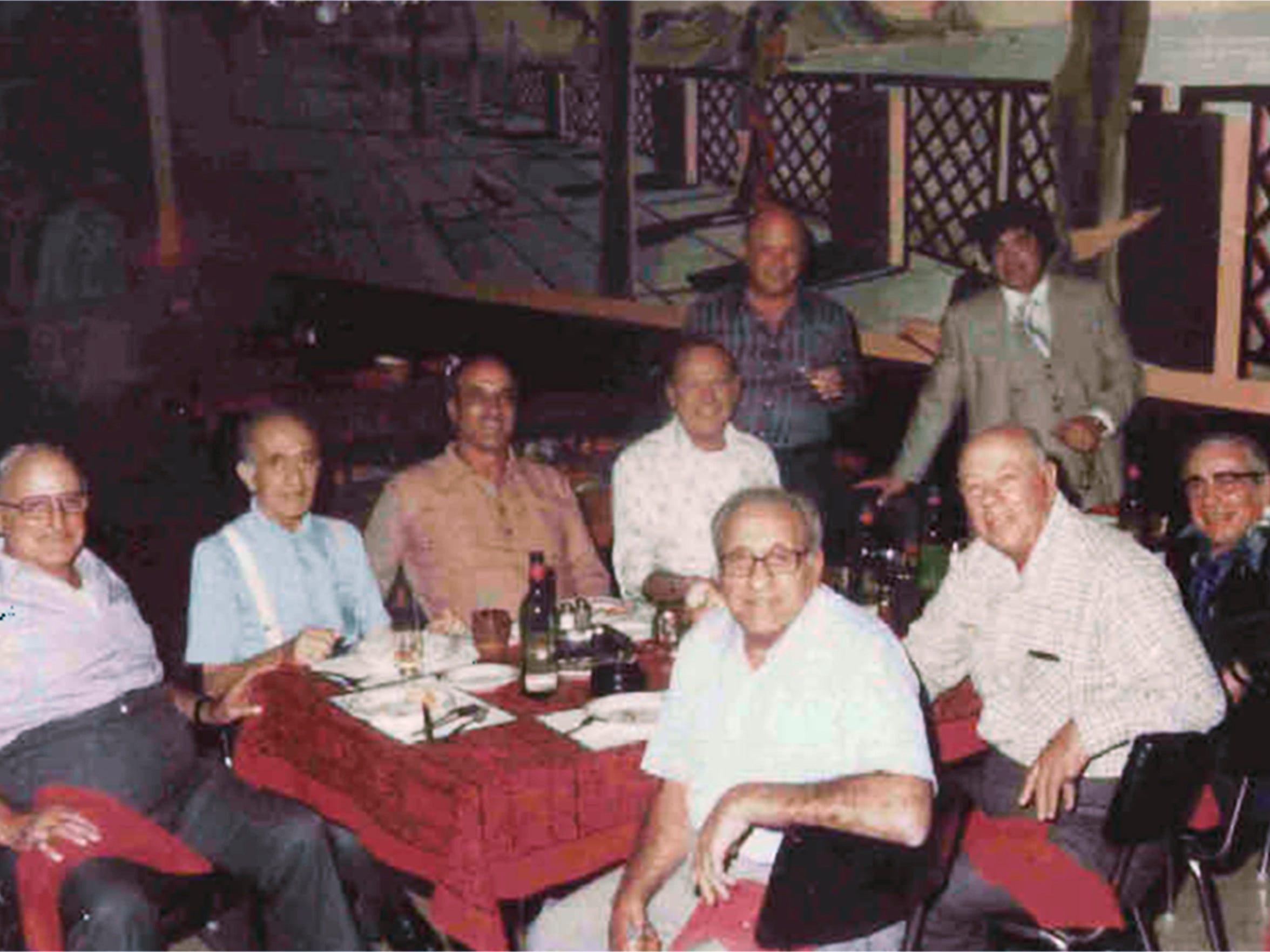 "A 1978 photo provided by the U.S. Attorney's office, Northern District of Illinois, shows alleged organized crime figures seen at a Chicago area restaurant. Clockwise from left are: Joseph ""Doves"" Aiuppa, Martin Accardo (tentative identification), Vincent Solano, Alfred Pilotto, John ""Jackie the Lackey"" Cerone, Joseph ""The Clown"" Lombardo, Joseph ""Little Caesar"" DiVarco, Joseph ""Black Joe"" Amato and Anthony J. ""Big Tuna"" Accardo."