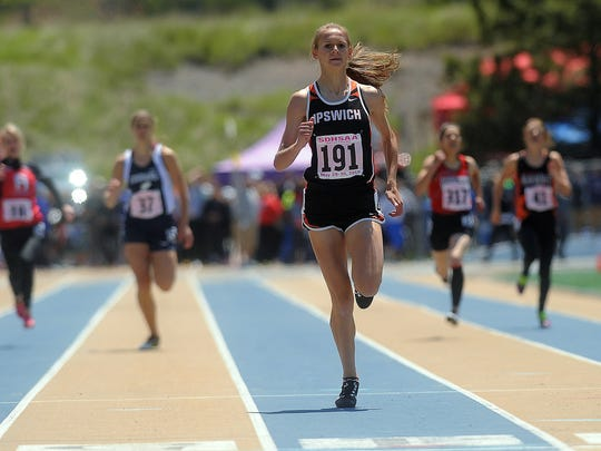 Ipswich's Macy Heinz keeps her eye on the finish line during the girls 400 meter dash at the 2015 Class B State Track and Field Championships in Rapid City at O'Harra Stadium on Saturday, May 30, 2015.