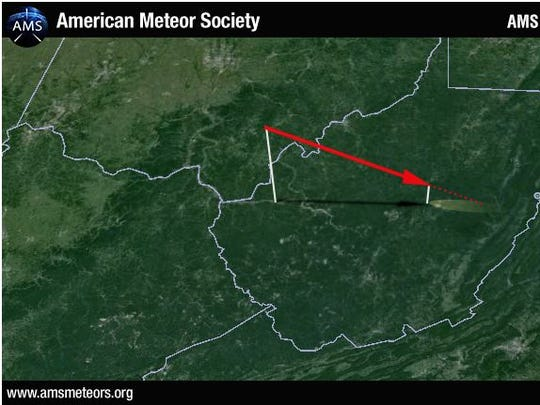 This is a 3-D trajectory of the fireball's entry plotted by the American Meteor Society using data from witness sightings. The geometric impact point is located on the border between Webster and Randolph counties in West Virginia.