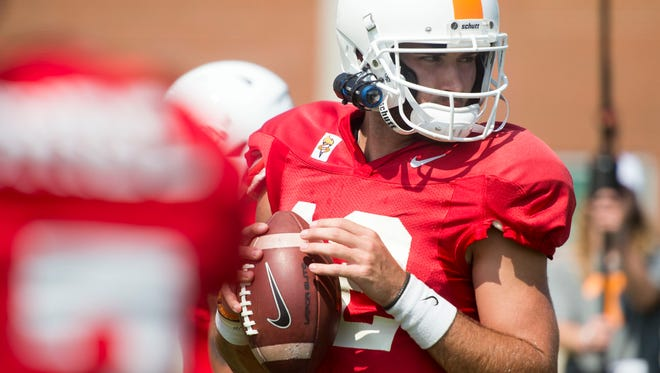 Tennessee quarterback Quinten Dormady (12) at practice on Sunday, Aug. 6, 2017.