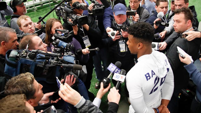 """One, two, three (in the draft),, that's cool and all, but it's all about what you do in the league,"" Penn State running back Saquon Barkley said Wednesday."