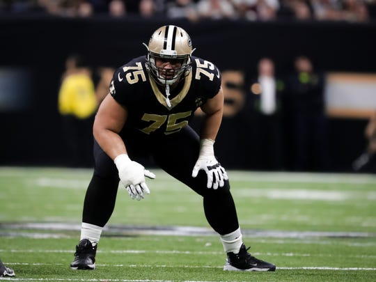 New Orleans Saints offensive guard Andrus Peat (75) lines up against the Philadelphia Eagles during the Jan. 13 NFC Divisional playoff football game at Mercedes-Benz Superdome.