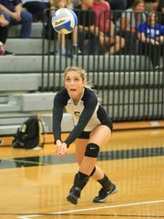 Plymouth's Jordyn Kuchka bumps the ball during Wednesday's contest.