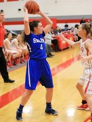 Salem's Marisa Martin (No. 4) looks for a teammate