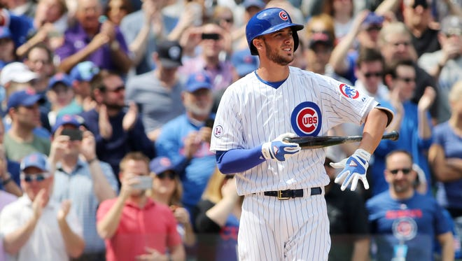 Chicago Cubs infielder Kris Bryant comes up to bat during the first inning against the San Diego Padres at Wrigley Field.