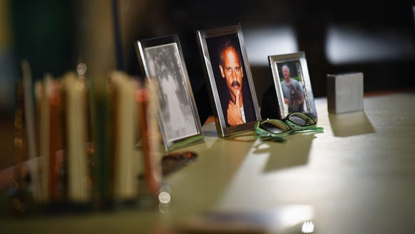 Photos on Oprah WInfrey's desk at Harpo Studios depict