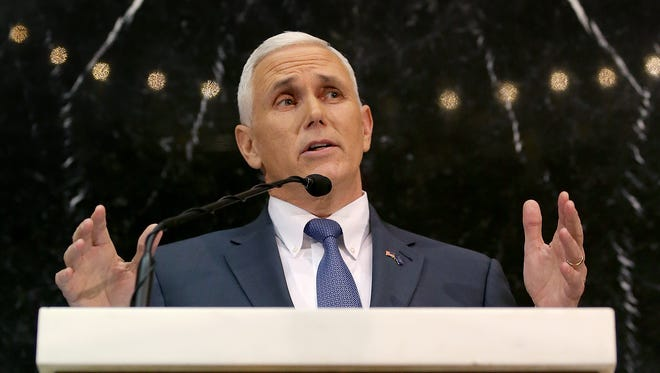 Indiana Gov. Mike Pence delivers his 2016 State of the State address Tuesday, Jan 12, 2016.