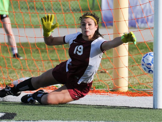 Former Merritt Island High goalkeeper Emily Plotz, seen here in the Class 3A state semifinal, is now in her senior season with the Stetson Hatters.