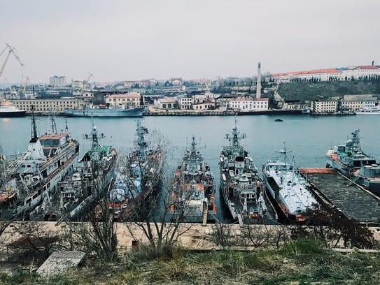 Part of Russia's Black Sea naval fleet in Crimea