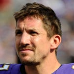 Sep 15, 2013; Baltimore, MD, USA; Baltimore Ravens tight end Dallas Clark (87) on the sidelines against the Cleveland Browns during the second half at M&T Bank Stadium. The Ravens won 14 - 6.