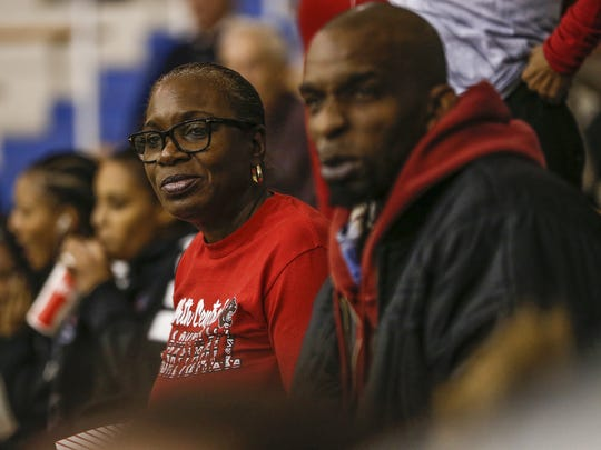 Ajanae' Thomas' grandmother Debra Hawkins watches as the Panthers play against the Carmel Greyhounds on Friday, Dec. 16, 2016.