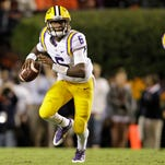 Quarterback Brandon Harris (6) is still competing for the starting position at LSU.
