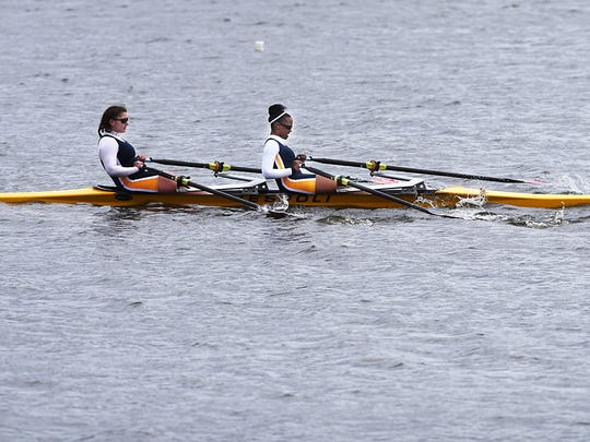Sophia Montany, left, and Keira Gotrell, Hackensack High School's new crew team competes at Overpeck Park on Saturday, April 7, 2018.
