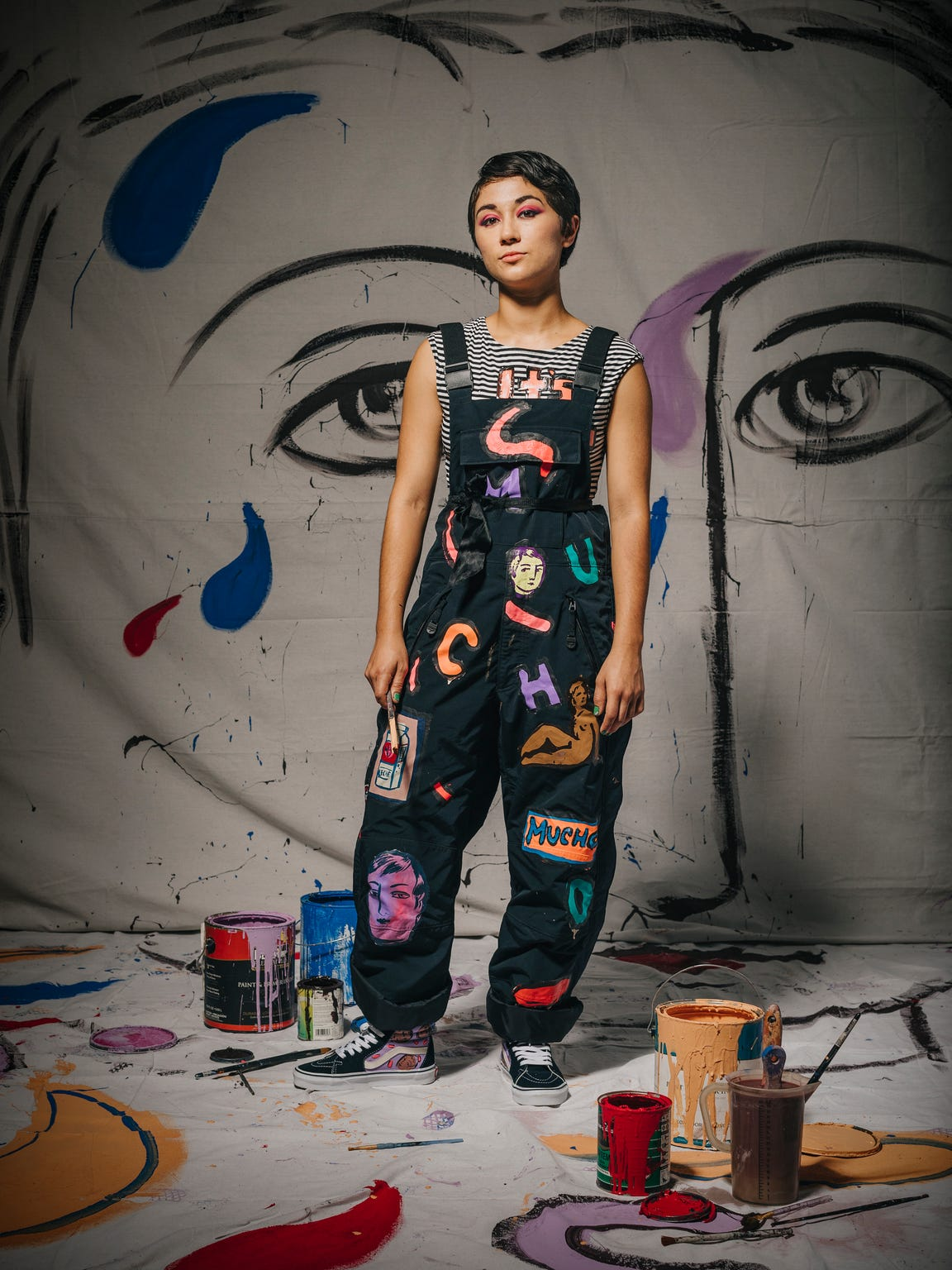 Sofia Enriquez wearing her own hand-painted shirt,
