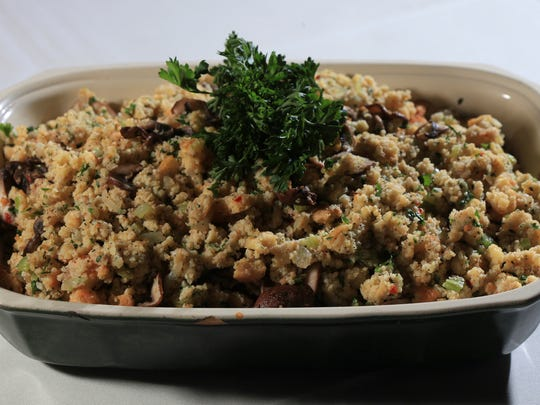 The cornbread stuffing with onions, celery, garlic and mushrooms served at Lilly's.