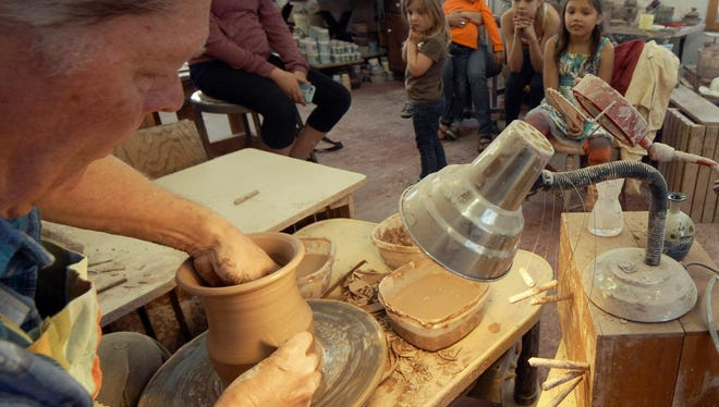 David Aurelius throws a clay pot on the wheel in a demonstration at his Clay Bay Pottery in Ellison Bay during last year's Door County Potters' Guild Studio Tour and Sale. This year's tour of the guild members' studios and galleries takes place May 7-8.