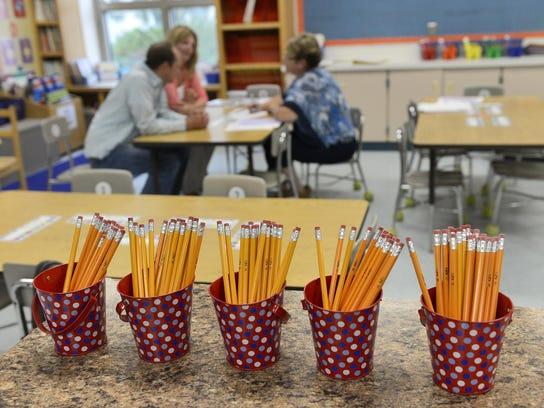 Buckets of No. 2 pencils populate Kirsten Bechtold's