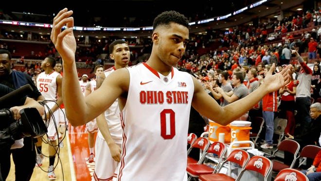 Ohio State guard D'Angelo Russell celebrates following the Buckeyes' win over Maryland on Jan. 29. Russell and OSU play in East Lansing against Michigan State Saturday.