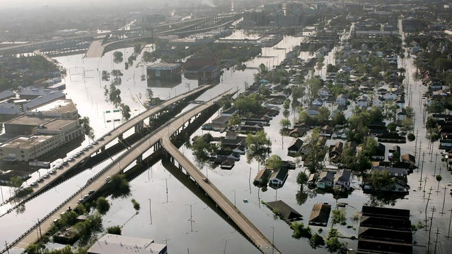 Floodwaters from Hurricane Katrina fill the streets near downtown New Orleans, Louisiana on on Aug. 30, 2005.