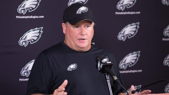 Jun 17, 2015; Philadelphia, PA, USA; Philadelphia Eagles head coach Chip Kelly talks to the media during minicamp at The NovaCare Complex. Mandatory Credit: Bill Streicher-USA TODAY Sports