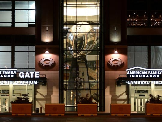 The Lombardi Trophy replica is in the lobby of the American Family Gate on the east side of Lambeau Field. It weighs 14.5 tons with a foam and metal infrastructure, and according to Dan Gokey of Insane Paint in Marinette is the largest structure ever to be chromed.